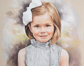 Pastel portrait commission of a child, 20x21 inches