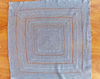 Vintage crochet cloth, pale blue, a 55cm square granny square crocheted with a tiny hook and crochet cotton. Feels silky.