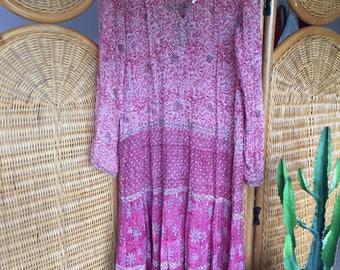Beautiful vintage pink red indian cotton gauze dress by PHOOL bohemian