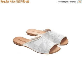 ON SALE White leather sandals, Helena, flat sandals, handmade