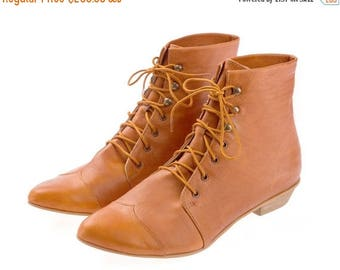 CIJ SALE Whisky brown Leather handmade boots / High Polly-Jean lace up Whisky brown flat Boots by Tamar Shalem