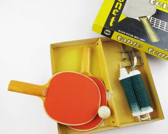 A 'Coronet' Table Tennis Set - New Paddles, Ball, Net and Clamps - Ping Pong Set - Brooklyn, NY - Wood Paddles - In Original Box