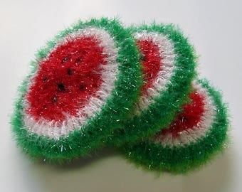 Crochet / Watermelon Scrubbers, set of Three
