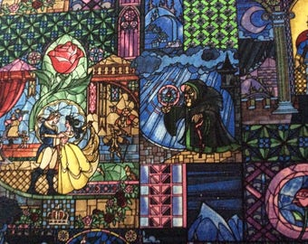 Bolt End Piece 21 inches  Beauty and the Beast Stained Glass Cotton Fabric Springs Creative Fabric