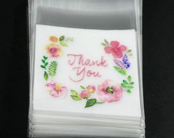 5 Pocket bag cello bags clear flowers thank you