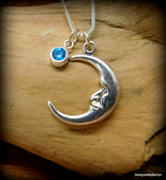 Sterling silver man in the moon necklace, 3D man in the moon, celestial necklace, moon jewelry, man in the moon