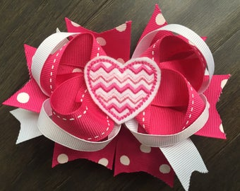 Valentine Heart Red Pink Hair Bow