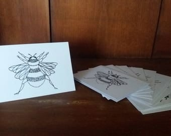 12 Pack Hand-drawn Bee Cards