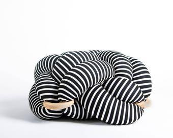 Medium knot Floor Cushion in Black & White stripes, Knot Floor Pillow pouf, Modern pouf, cushion, pouf ottoman