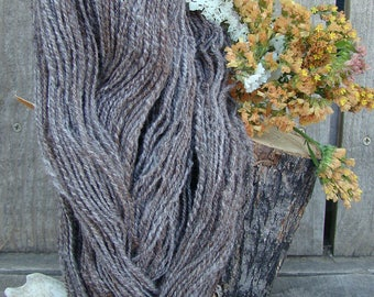Hand Spun Rose Grey Alpaca Yarn, Contains VM