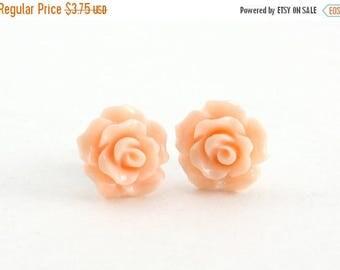 25% OFF SALE Tiny Peachy Pink Ruffled Rose Earrings, Stud Earrings, Flower Earrings, Bridesmaids Gift