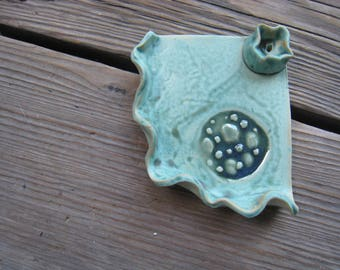 Incense Burning Tray - Small Moon Dish - Teal Ceramic Ashtray - Outer Space Decor - Cone Incense and Stick Incense - Dark Moon Art