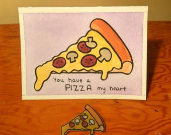 PIZZA MY HEART Valentine's Day Card with matching pizza slice Shrinky Dink Pin