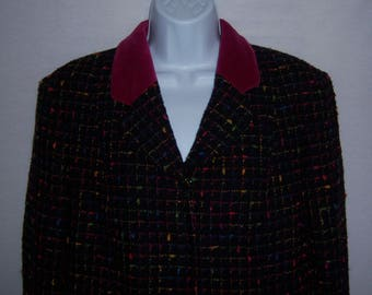 Vintage Moschino Cheap and Chic Black Pink Green Check Confetti Nubby Tweed Jacket Blazer 8 10 Medium