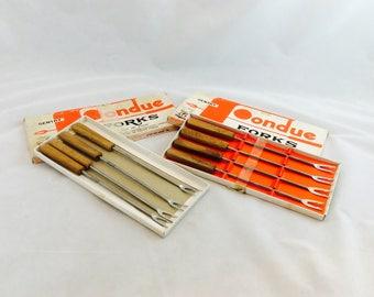 Vintage Fondue Fork Set Stainless Steel with Teak Handles