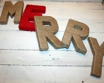 Christmas Decorations | Christmas Jute Wrapped Letters | Jute Wrapped MERRY letters | MERRY Christmas Greeting