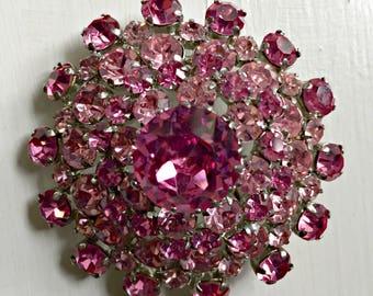 Austrian Crystal Pink Rhinestone Dome Brooch Pin