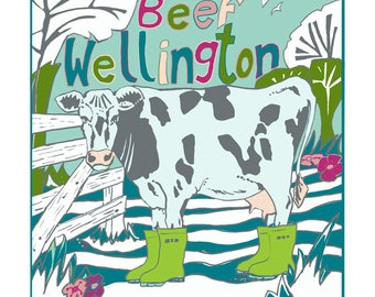 Beef wellington greeting card by Tracy Evans
