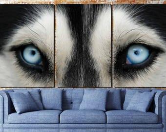 Husky Wall Art, Siberian Husky Canvas,Husky 3 Panel, Husky Canvas Art,Large Husky Wall Art,Husky Eyes Art,Husky Blue Eyes,Husky Canvas Print