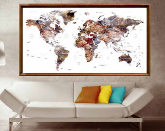 World Map Poster,World Map Wall Poster,World Map Canvas Print,Large World Map,Travel Map Poster,Push Pin World Map, Push Pin Map Poster,Map