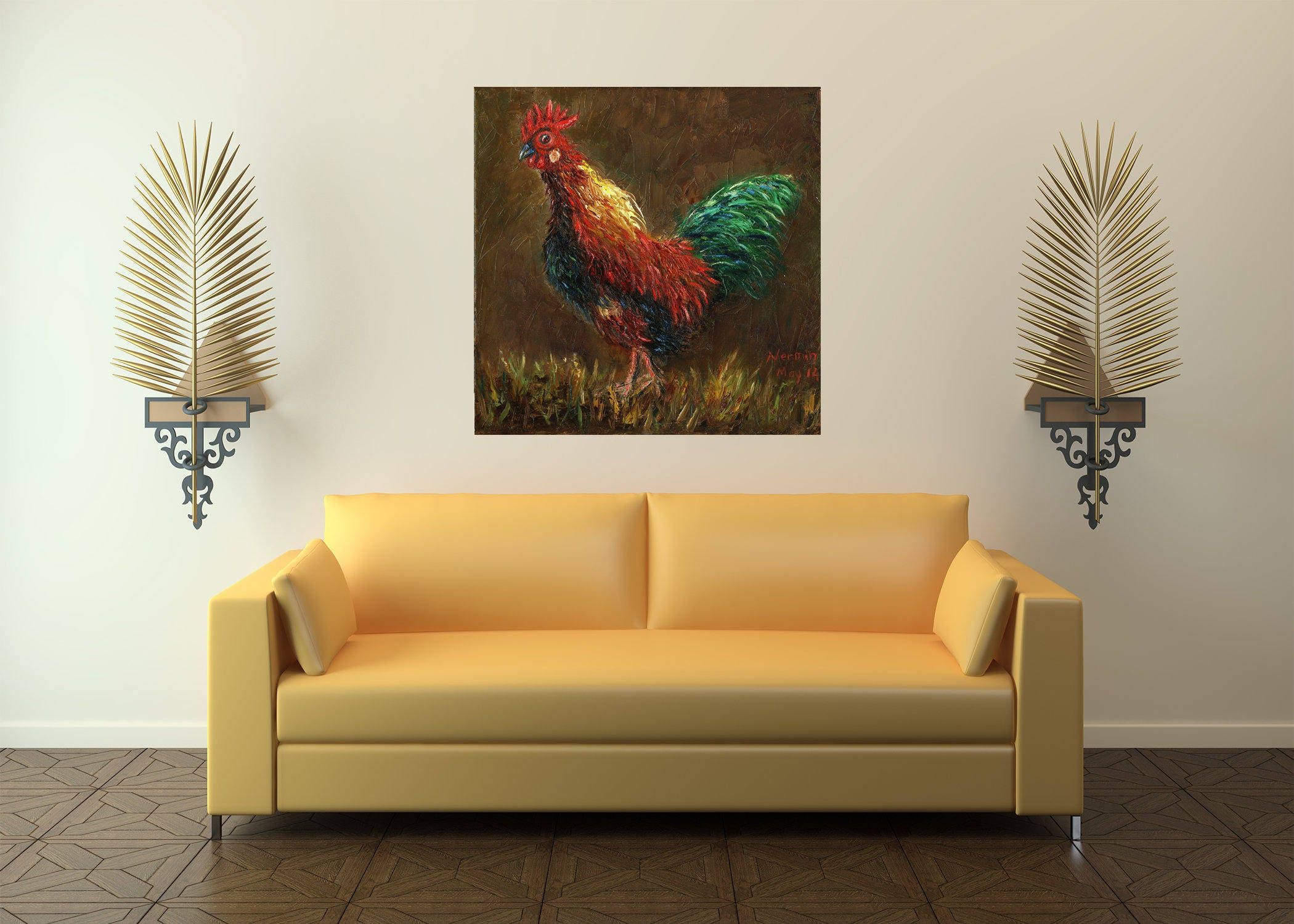 Chicken Painting Rooster Painting Chicken Oil Painting Kitchen