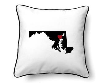 Maryland Pillow - Maryland Gift - Maryland Map - MD State Map