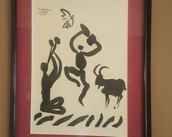 Vintage Mid Century Pablo Picasso Flute Player Spring Dance Framed Lithograph Art Print 1950's