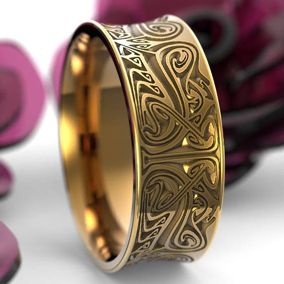 gold engraved norse wedding ring with dramatic design in 10k 14k 18k or palladium made - Norse Wedding Rings