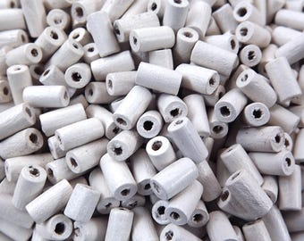 White Wood Tube Beads Satin Varnished Plain Simple Round Smooth Ball Wooden Bead Spacers 8mm Choose 50pcs, 200pcs or 400pcs