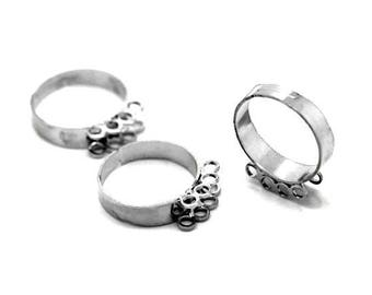 set of 10 rings adjustable rings, silver, 18.3 mm closed