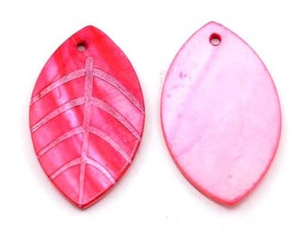 12 pendants of Fuchsia, ribbed, leaf Pearl 42x25mm