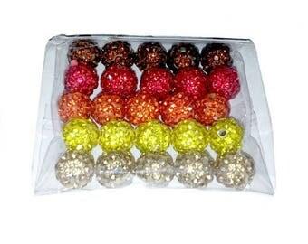 Set of 25 10mm Crystal Shamballa set autumn disco beads