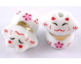 Set of 2 cat, maneki neko, porcelain, bout 17mm beads