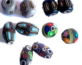 2 Indonesian beads, handmade, 14a 22mm approx - 5 designs to choose from
