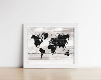 Rustic Printable World Map - Nursery Wall Art - Nursery Decor - Travel Art - Digital Art - Office Decor  - Housewarming Gift - SKU:8443