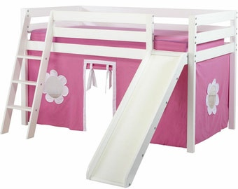 Twin Loft Bed with Slide Pink/White Curtain, White