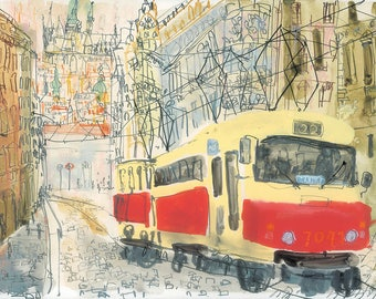 PRAGUE TRAM PRINT, Czech Republic, Tram Watercolor Painting, Limited Edition Giclee, Architecture Art, Old Town Prague, City Painting Sketch