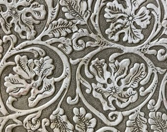 "Floral White Embossed Leather 12x12"" // Genuine Leather // Vintage Tooled Flower Pattern"
