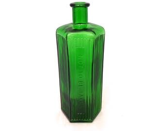 "Vintage Large 8.5"" Green Apothecary Poisen Bottle, Antique Apothecary Jar, Not To Be Taken, Green Medicine Bottle, Old Glass Chemist Bottle,"