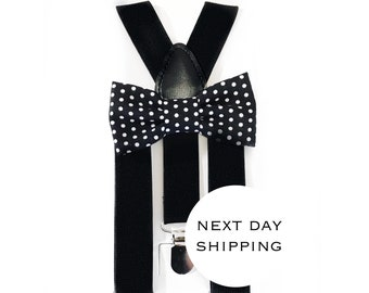 black and white polka dot bow tie & suspender set,suspenders,baby suspenders,boy bow tie,polka dot bow tie,easter bow tie,groomsmen tie