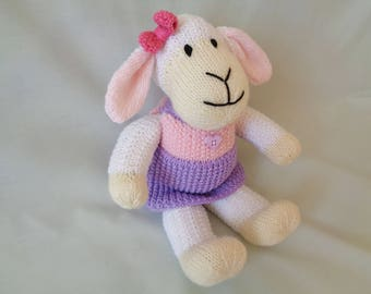 Lamb, Hand Knitted Lamb, Knitted Sheep, Leanna, the Dressed Lamb, Toy Lamb, Easter Lamb,  Nursery Decor, Baby Gift, Child Gift, Easter Gift