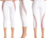 Women's Baseball Stitching Print Leggings. Full, Cropped or Yoga. Polyester & Spandex Blend. Size XS-XL. Printed and Sewn in USA.