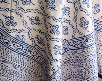 Blue Flower and Swirl Indian Block Print Tablecloth Cotton Eco Friendly