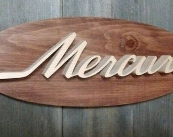 1967-68 Mercury Emblem Oval Wall Plaque-Unique scroll saw automotive art created from wood for your garage, shop or man cave.