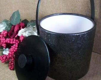 Ice Bucket Vintage Irvinware Barware Black Metallic Floral Paisley Vinyl  Ice Bucket Retro Home Bar Accessory