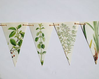 Flower Paper Bunting, Upcycled Garland, Botanical, Vintage, Tea Party, Recycled
