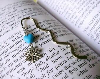 Snowflake bookmark, personalised bookmark, christmas bookmark, beaded bookmark, crystal bookmark, heart bookmark, festive gifts, bookworm