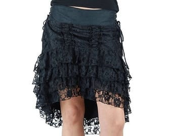 PROMOS Steampunk dovetail skirt black lace. Festival, burlesque, gypsy, tribal fusion, steampunk, burning man