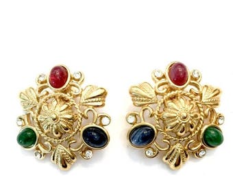 Trifari TM Earrings, Glass Cabochons Jewels of India Colors, Etruscan Style Metal Work, Ice Accents, Vintage Jewelry, Statement Earrings