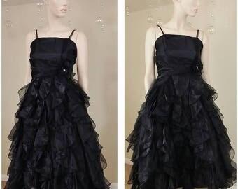 Beautiful Vintage 90s black ruffles dress size 10, gown